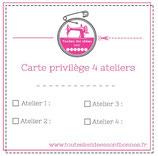 Carte privilège 4 ateliers