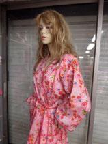 Peignoir-robe de chambre-rose et fleurs