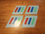 "Autocollants bandes tricolore monogrammes Golf 2 gti 16S ""Match"" (x4)"