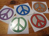 """Autocollant """"Peace & Love"""" (argent metallisé) années 70"""
