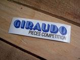 """Autocollant """"Giraudo Pièces competition"""" années 90 blanc-bleu"""