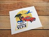 """Autocollant """"En vacances avec la Peugeot 104"""""""
