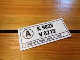 """Nouvel autocollant compartiment moteur """"A K9023 / V0219"""" Peugeot 205 XU9J1"""