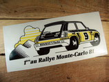 "Autocollant Renault 5 Turbo ""1er au Rallye Monte-Carlo 81"""