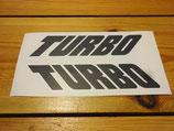 """Lettrages autocollants """"Turbo"""" d'ailes arrières Peugeot 505 Turbo"""