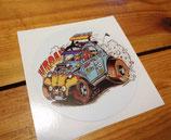 """Autocollant """"Dessin caricature Citroën 2cv custom"""""""