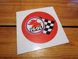 Autocollant Huile Igol sport drapeau à damiers - Années 60