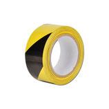 Cinta señalización, amarillo/negro, adhesiva