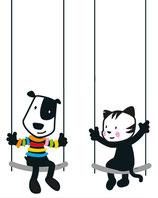 Wall Sticker Swing/Wandsticker Schaukel dogger + catter