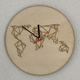 Houten klok wereld geometrisch
