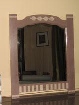 Miroir en chêne aspect usé cappuccino/blanc cassé
