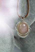 Ref.: 00306 Dije en plata925 y Cuarzo Rosa
