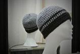 Mütze aus warmer Wolle in Grau/Anthrazit