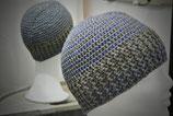 Mütze mit Silberfaden und Grau/Blautönen