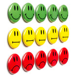 15 bunte Smiley Magnetbuttons ø 2,5cm