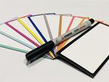 10 bunte beschreibbare Magnetschilder 13,5 x 6 cm inkl. Stabilo Stift