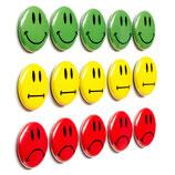 15 bunte Smileys Magnetbuttons ø 2,5cm