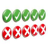 10 Magnetbuttons: 5 Haken & 5 Kreuze ø 2,5cm