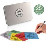 25 wiederverwendbare Magnete 7,5 x 7,5cm in 5 verschiedenen Farben inkl. Stabilo Stift & Box