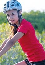 T-shirt in poliestere di colore fluorescente modello donna