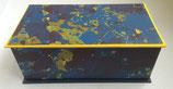 Cofanetto in carta marmorizzata blu e giallo