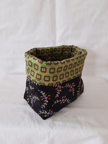 Pouch small purple/green floral on dark
