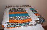 Stacked Coin Quilt blue /orange