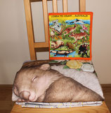 Wombat Baby Cot Quilt large panel blue tones + Fabric Book