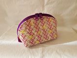 Clam shell bag, large, plum/beige/pink
