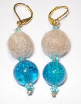 Ohrringe Frisco blau - mittelgroße Fellperle