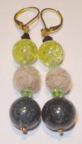 Ohrringe Frisco mit gelb u. schwarzer Perle