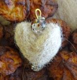 Herz- Schlüsselanhänger klare Perlen