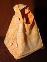 Sac à main réversible Carreyade jaune toile de jouy/ orange