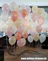 Ballonwand pfirsich/weiß/rosa und Akzente in Rosé Gold (nur Material)