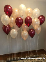 Ballonwand pfirsich/burgund/weiß (nur Material)