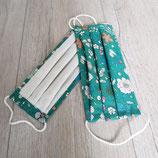 Mundschutz Blumen auf grün mit weiß