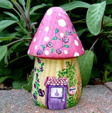 Pretty Pink Solid Wood Toadstool