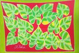 Pareo grüne Blätter ROT