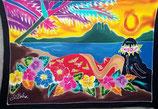 Pareo Sonnenuntergang mit träumender Hawaiianerin