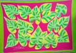 Pareo grüne Blätter PINK