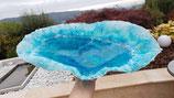 Aloha Ocean ART ovale Wellen Kristall Schale Türkis Blau weiss mit Kristallen