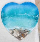 ART Ocean Resin Herzbild auf Leinwand mit oder ohne Aufschrift