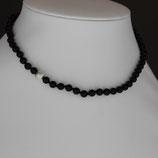 Halskette aus 925-Sterlingsilber und Onyx