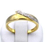 Damenring aus 585-Gelbgold mit Brillanten poliert/mattiert  010/54/FC/GG/585