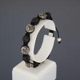 Armband aus geschwärztem 925-Sterlingsilber und Lavastein