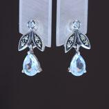 Ohrhänger aus oxidiertem 925-Sterlingsilber, Blautopas und Markasiten
