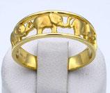 Damenring aus 333-Gelbgold mattiert mit Elefanten als Motiv  014/56/M/GG/333