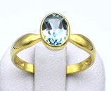 Damenring aus 585-Gelbgold poliert mit ovalem Blautopas, facettiert  020/56/BT/GG/585