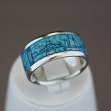 Zingst-Ring aus 925-Sterlingsilber und Hightech Ceramic - Farbe: türkis