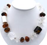 Collier aus 925-Sterlingsilber, Bergkristall und baltischem Bernstein